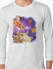 Cat in Space with Pizza and Tacos Long Sleeve T-Shirt
