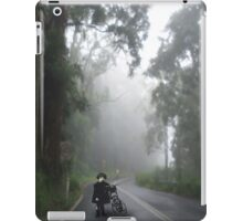 A vintage Girl with tricycle in the foggy woods. iPad Case/Skin