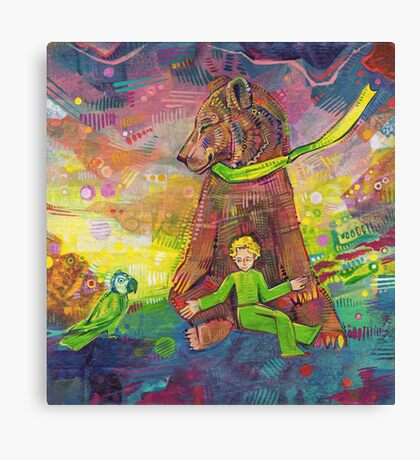 Feeding the parrot painting - 2014 Canvas Print