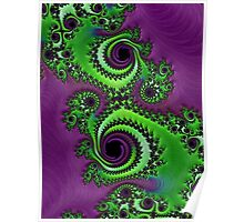 Gorgeous Purple Green Fractal  Poster