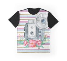 Vintage Floral Watercolor Camera Graphic T-Shirt