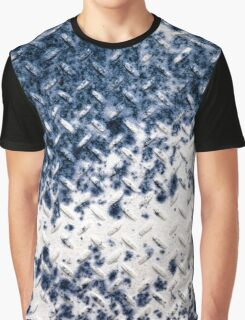 White Diamond-Plate and Blue Rust Graphic T-Shirt
