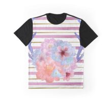 Floral Watercolor Antlers Graphic T-Shirt