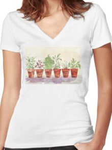 Herbs - Inside or outside? Women's Fitted V-Neck T-Shirt