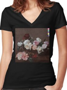 New Order - Power Corruption & Lies Tshirt (High Resolution) Women's Fitted V-Neck T-Shirt