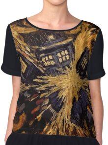 Doctor Who- Van Gogh Exploding Tardis Chiffon Top