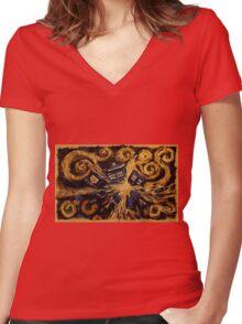 Doctor Who- Van Gogh Exploding Tardis Women's Fitted V-Neck T-Shirt