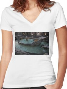 Rome's Fabulous Fountains - Fontana della Barcaccia, Spanish Steps  Women's Fitted V-Neck T-Shirt