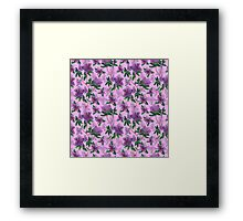 A watercolor seamless pattern of pink rhododendron flowers, branches of green leaves Framed Print
