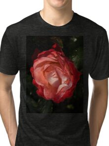 A Wonderful Cream-and-Red Rose With Dewdrops Tri-blend T-Shirt