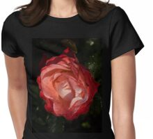 A Wonderful Cream-and-Red Rose With Dewdrops Womens Fitted T-Shirt
