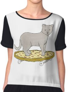 Cat Skateboarding on Pizza Chiffon Top