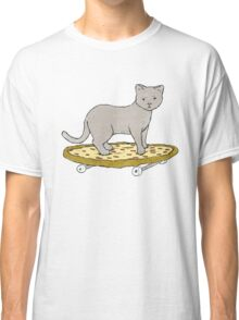Cat Skateboarding on Pizza Classic T-Shirt