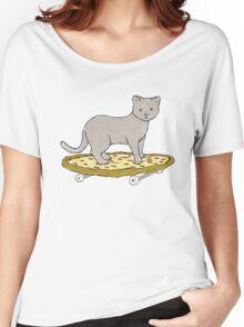 Cat Skateboarding on Pizza Women's Relaxed Fit T-Shirt