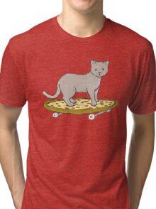 Cat Skateboarding on Pizza Tri-blend T-Shirt