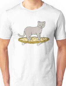 Cat Skateboarding on Pizza Unisex T-Shirt
