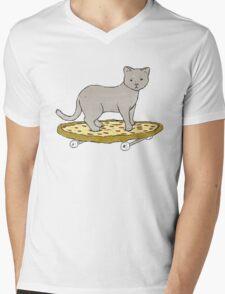 Cat Skateboarding on Pizza Mens V-Neck T-Shirt