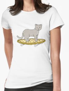 Cat Skateboarding on Pizza Womens Fitted T-Shirt