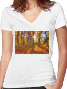 Brilliant, Colorful Autumn Forest Impression Women's Fitted V-Neck T-Shirt