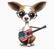 Cute Chihuahua Playing American Flag Guitar One Piece - Short Sleeve
