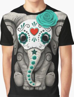 Teal Blue Day of the Dead Sugar Skull Baby Elephant Graphic T-Shirt