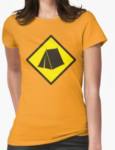 BEWARE tent camping sign Womens Fitted T-Shirt