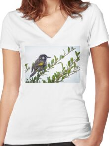 New Holland Honey eater at Gypsy Point Victoria Women's Fitted V-Neck T-Shirt