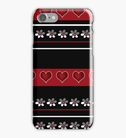 Seamless white floral and hearts pattern on red black background iPhone Case/Skin