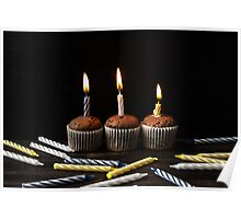 Little chocolate cupcakes with candles Poster