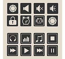 set of icons for web flat design outlines  Photographic Print