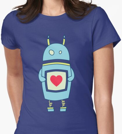 Blue Cute Clumsy Robot With Heart Womens Fitted T-Shirt