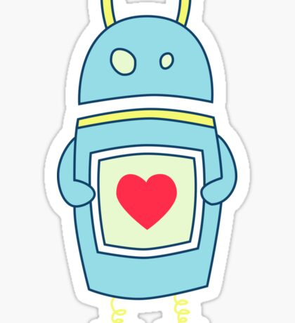 Blue Cute Clumsy Robot With Heart Sticker