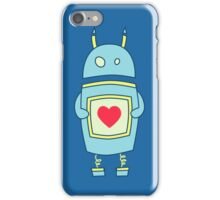 Blue Cute Clumsy Robot With Heart iPhone Case/Skin