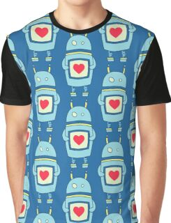 Blue Cute Clumsy Robot With Heart Graphic T-Shirt