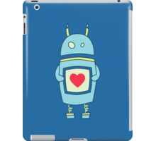 Blue Cute Clumsy Robot With Heart iPad Case/Skin