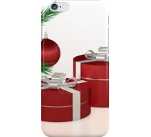 Christmas gift, red balls and fir branch  iPhone Case/Skin
