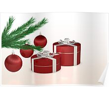 Christmas gift, red balls and fir branch  Poster