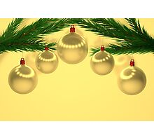 a set of gold Christmas balls Photographic Print
