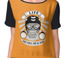 Life One Hell Of A Ride Biker Graphic Chiffon Top
