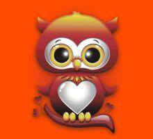 Baby Owl Love Heart Cartoon  Kids Tee