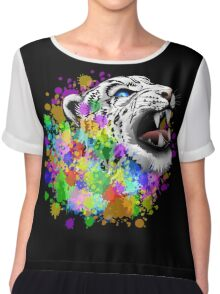Leopard Psychedelic Paint Splats Chiffon Top