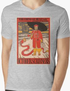Artist Posters The Chinese must go Andrews' history October Scribner's 0841 Mens V-Neck T-Shirt