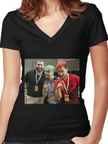 Markiplier, Jacksepticeye, and LordMinion777 at PAX East Women's Fitted V-Neck T-Shirt