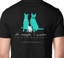 2 Woofs, 1 Meow - white font Unisex T-Shirt