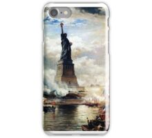 Unveiling of the Statue of Liberty Enlightening the World (1886) by Edward Moran iPhone Case/Skin