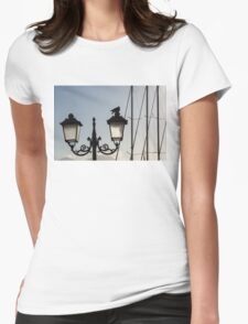 Dove Perch - Quaint Cast Iron Harbor Lights and Boat Masts Womens Fitted T-Shirt