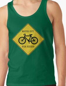 Watch Out For Bikes!! - Sticker Tank Top