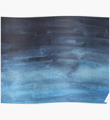 Blue ombre watercolor Poster