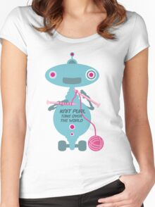 Knit Purl Take Over the World robot knitting needles Women's Fitted Scoop T-Shirt