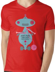 Knit Purl Take Over the World robot knitting needles Mens V-Neck T-Shirt